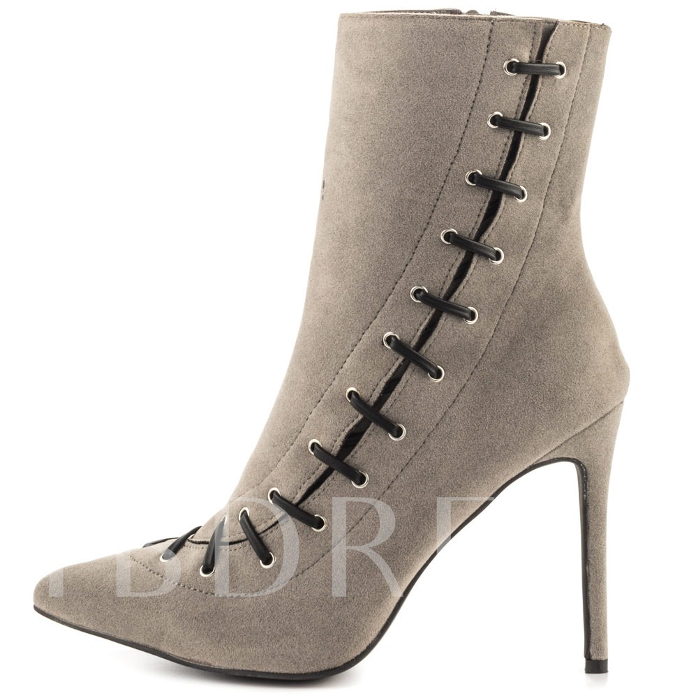 Suede High Heel Lace Up Women's Ankle Boots (Plus Size Available)