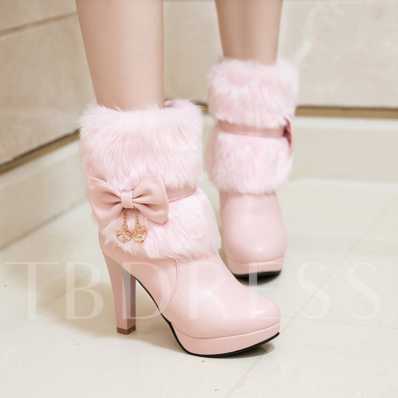 Fleece Platform Shoes Zipper Bow Ankle Boots