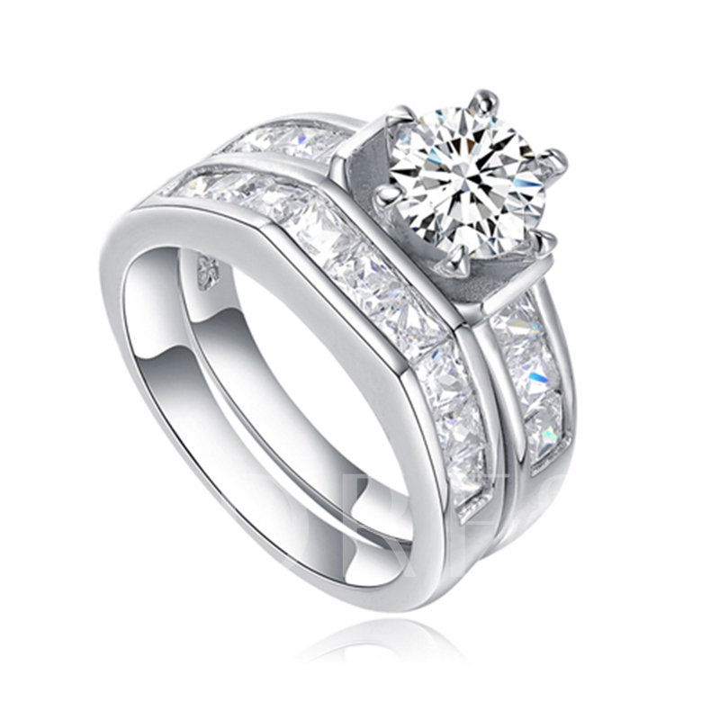 Imitation Zircon S925 Sterling Silver Six-Prong Ring