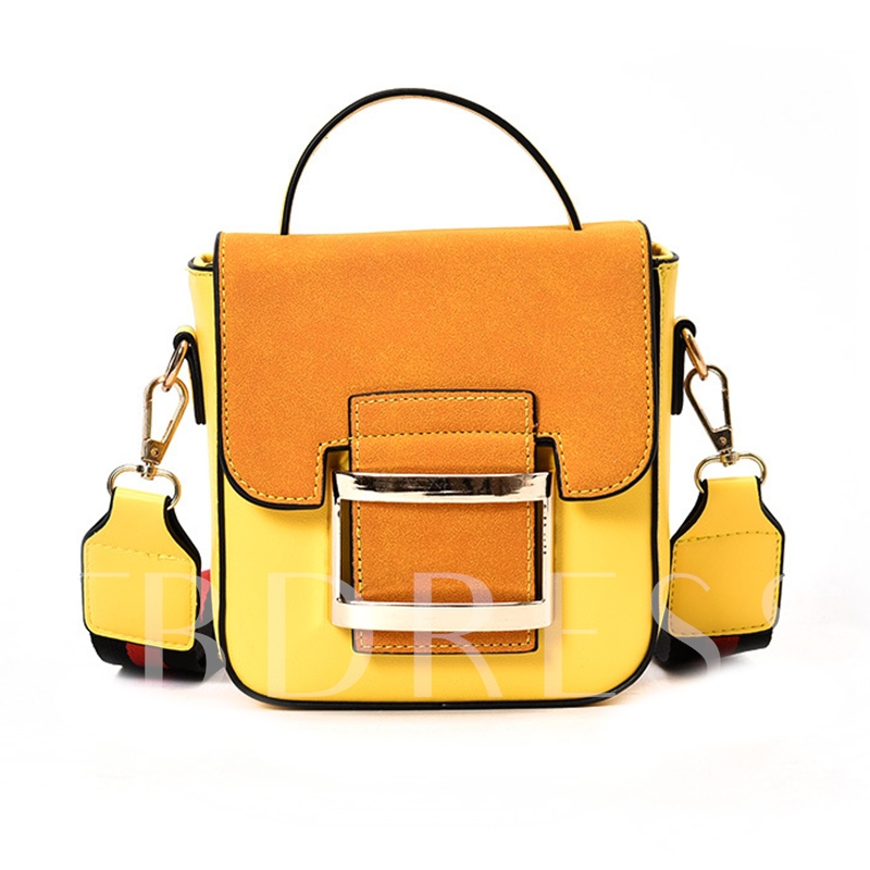 Vintage Color Block Matting Cross Body Bag