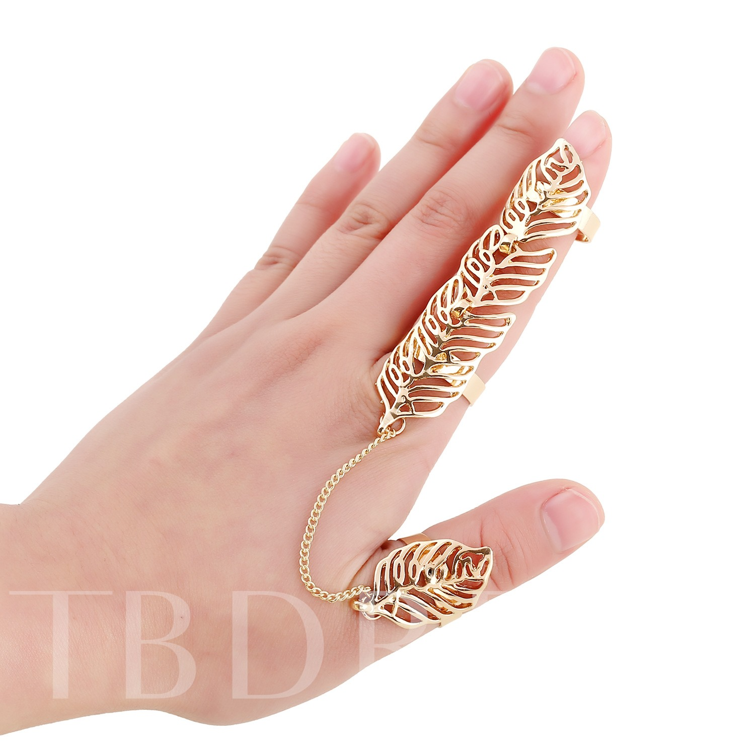 Golden Leaves Hollow-Out Alloy Ring