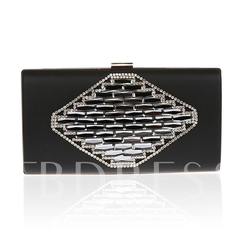 Solid Color Rhombus Pattern Evening Clutch