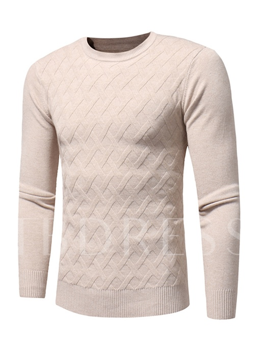 Round Collar Plaid Solid Color Slim Fit Knit Men's Sweater