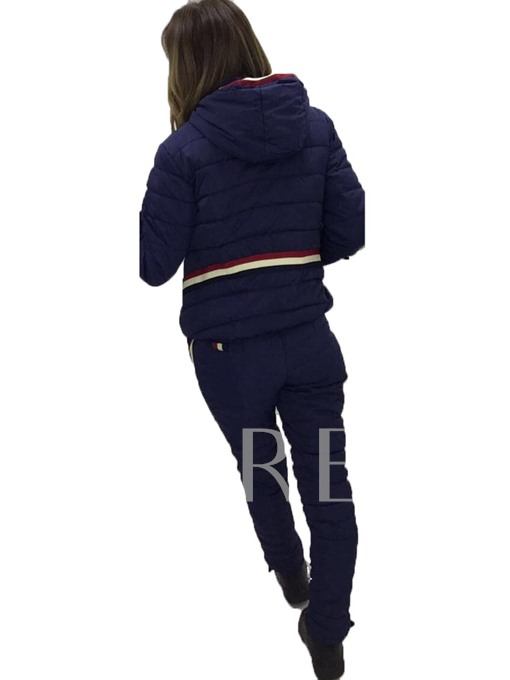 Winter Slim Long Sleeve Hooded Letter Embroidery Women's Pants Suit