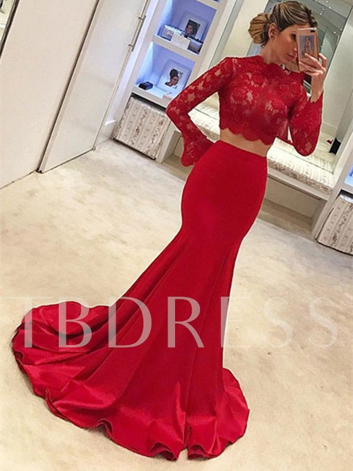 Two Pieces High Neck Mermaid Long Sleeves Lace Court Train Evening Dress
