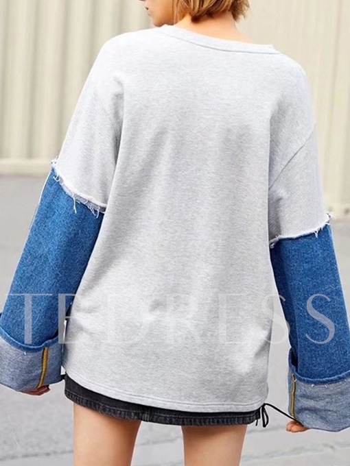 Letter Print Color Block Patchwork Street Style Casual Women's Sweatshirt