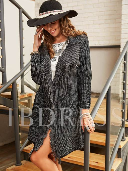 Mid-Length Loose Pocket Tassel Thread Women's Cardigan