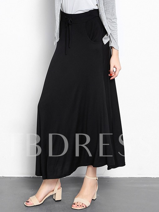 Plain Fall Casual Lace-Up A-Line Women's Skirt