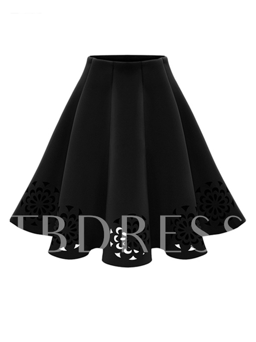 High Waisted A-Line Knee Length Women's Skirt