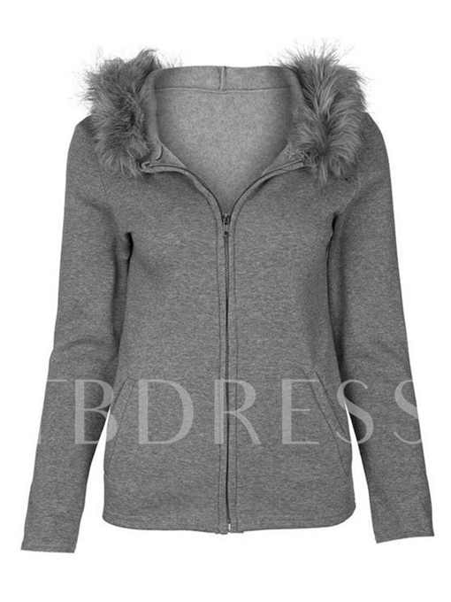 Faux Fur Hooded Slim Plain Sweatshirt Women's Hoodie