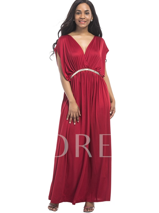V Neck Rhinestones Decorated Women's Maxi Dress