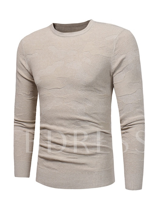 Round Collar Thin Solid Color Slim Fit Knit Men's Sweater