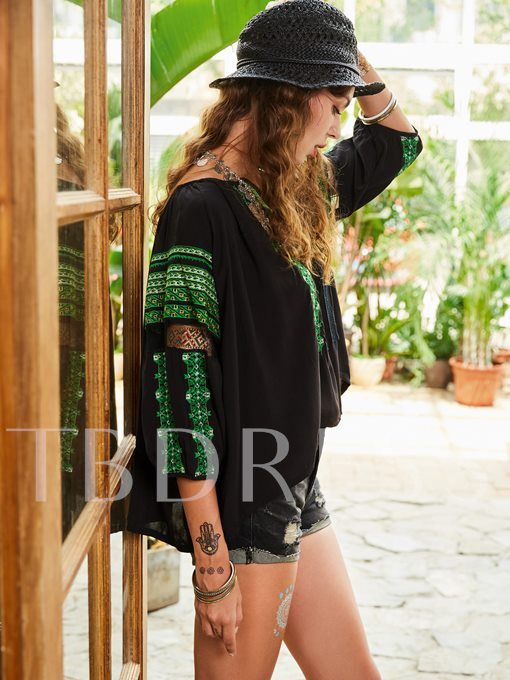 Color Block Stripe Embroideried Women's Blouse