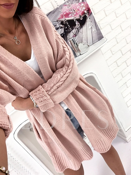Mid-Length Batwing Sleeve Loose Plain Women's Cardigan