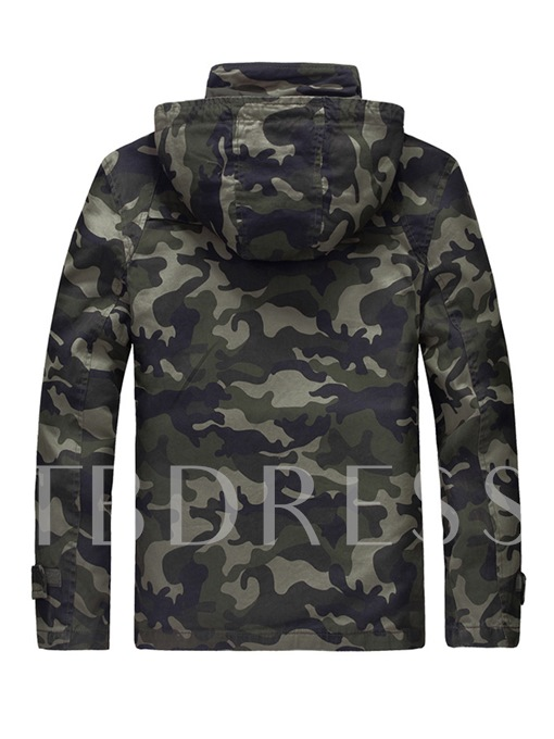 Hooded Camouflage Zipper Vogue Slim Fit Men's Casual Jacket