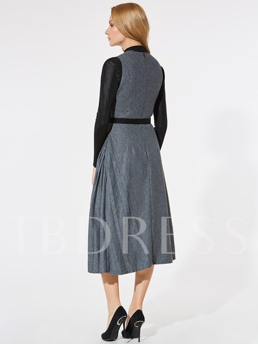 Gray Sleeveless Back Zipper Women's Day Dress