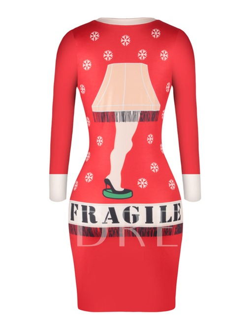 Red Letters Printed Christmas Women's Bodycon Dress