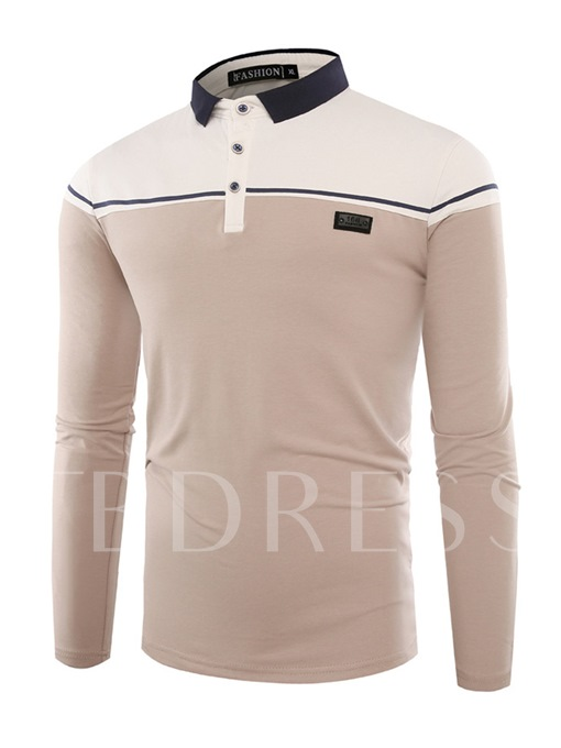 Lapel Patchwork Color Block Slim Fit Casual Men's Polo