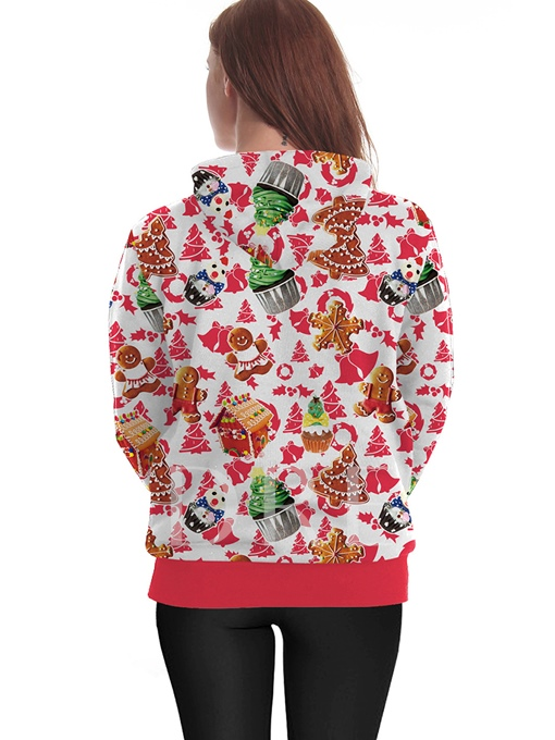 Hooded Cartoon Print Loose Women's Funny Christmas Hoodie