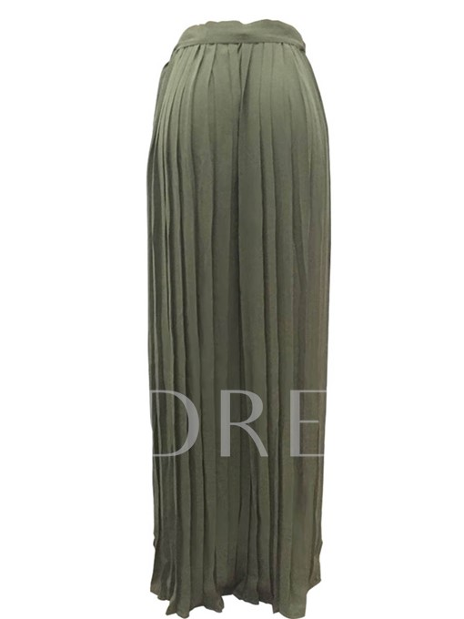 Plain Lace-Up Pleated Women's Maxi Skirt