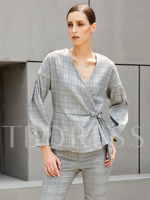 Lace-up V-neck Puff Sleeve Slim Women's Blouse