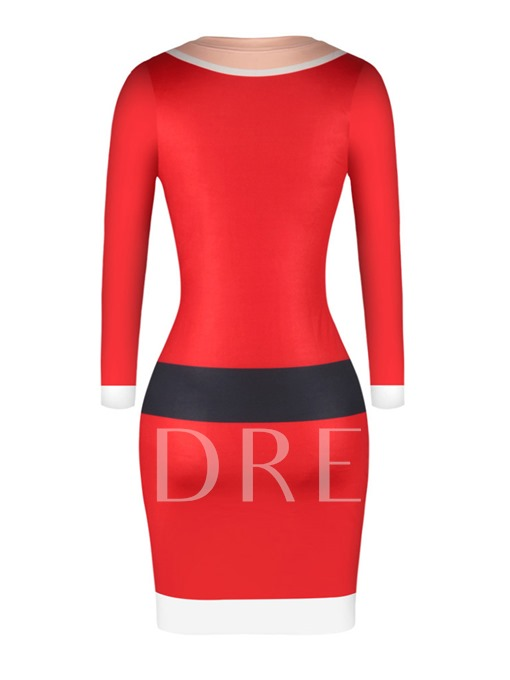 Red Letters Pattern Christmas Women's Bodycon Dress