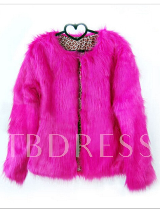 Faux Fur Thick Loose Round Neck Jacket Women's Overcoat