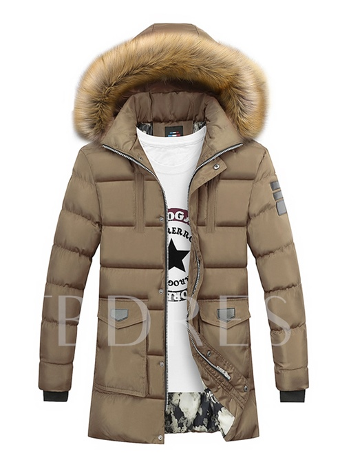 Fur Hooded Midi Pattern Solid Color Thicken Warm Casual Men's Coat