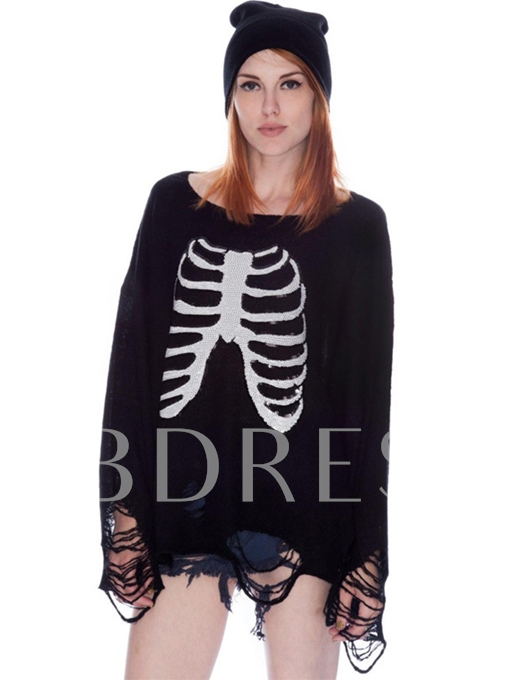 Chic Skull Print Hole Loose Pullover Women's Sweater