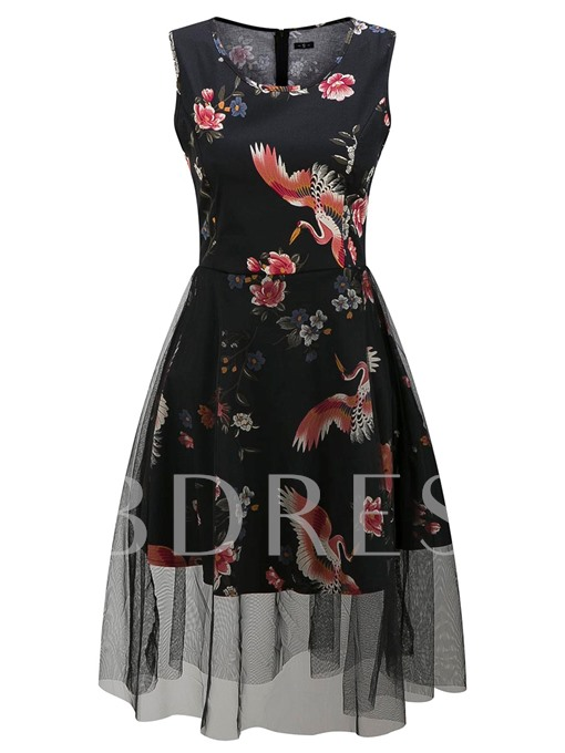 Sleeveless Floral Printed Organza Patchwork Women's Day Dress