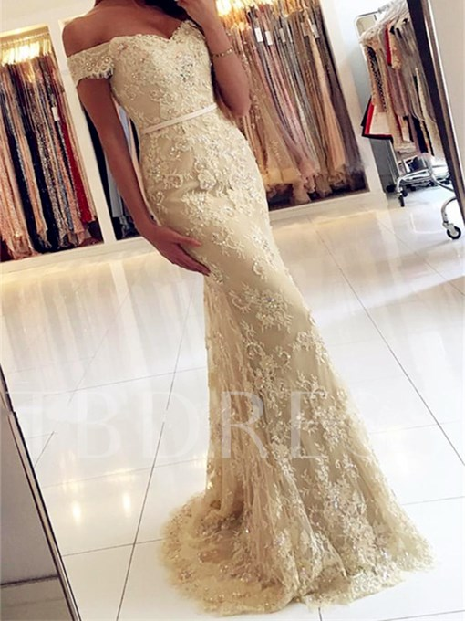Trumpet Off-the-Shoulder Appliques Beading Button Lace Sweep Train Evening Dress