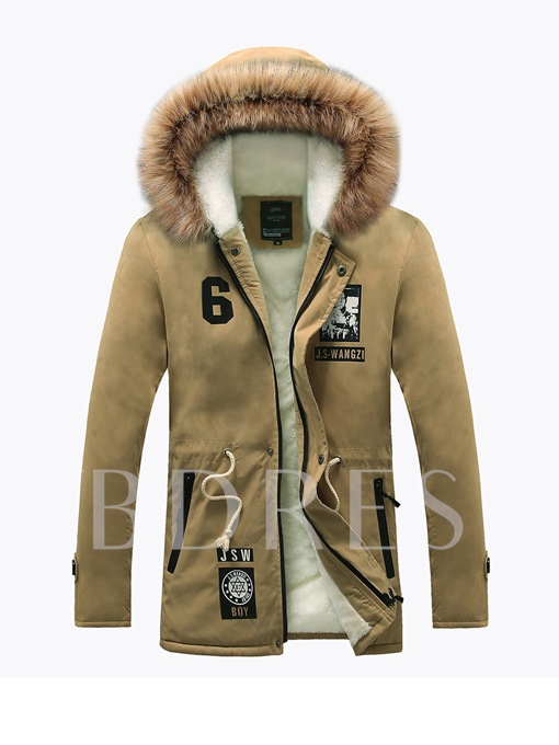 Faux Fur Midi Pattern Warm Side Pocket Slim Fit Men's Coat