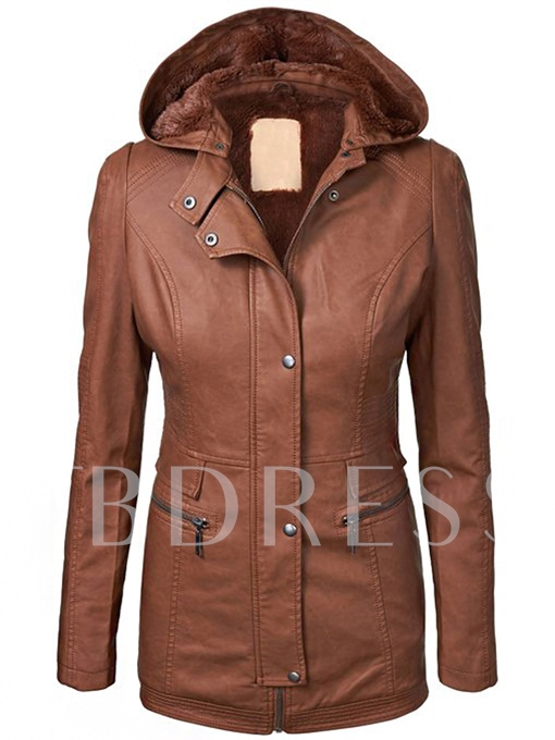 Zipper Long Sleeve Hooded Women's Jacket