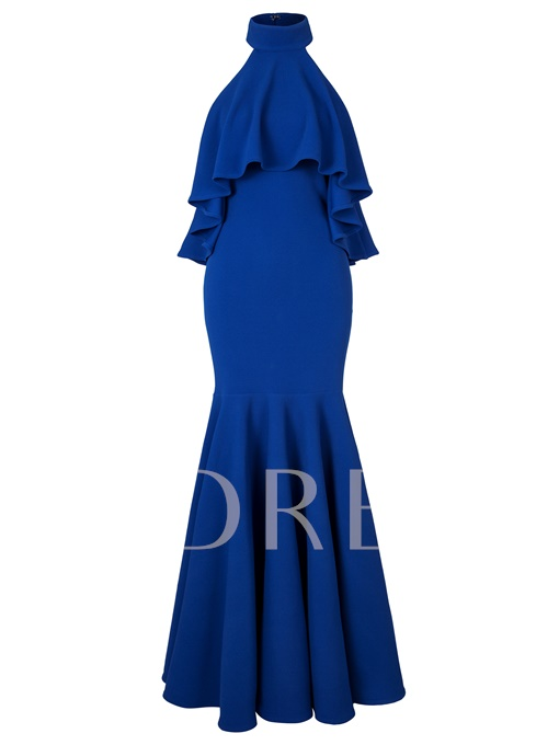 Royal Blue Falbala Halter Women's Maxi Dress