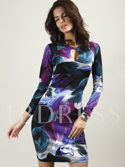 Color Block Printing Long Sleeve Women's Bodycon Dress