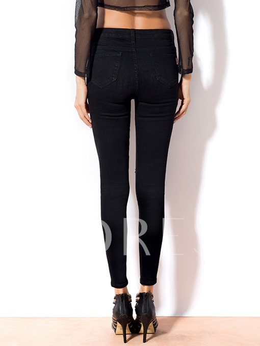 Plain Slim Hole Mid Waisted Women's Jeans