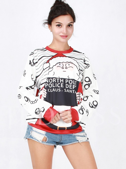 Round Neck Long Sleeve Cartoon Print Women's Ugly Christmas Sweatshirt