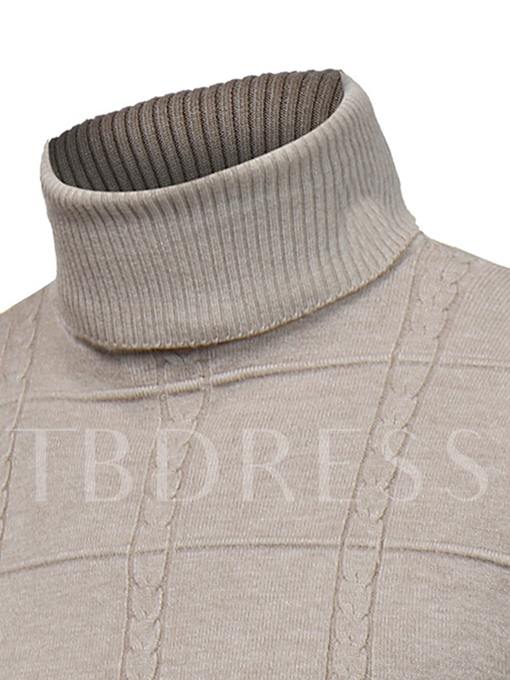 Turtleneck Solid Color Thin Slim Fit Knit Men's Sweater