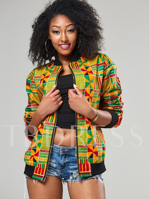 Geometric African Print Stand Collar Zipper Slim Women's Jacket