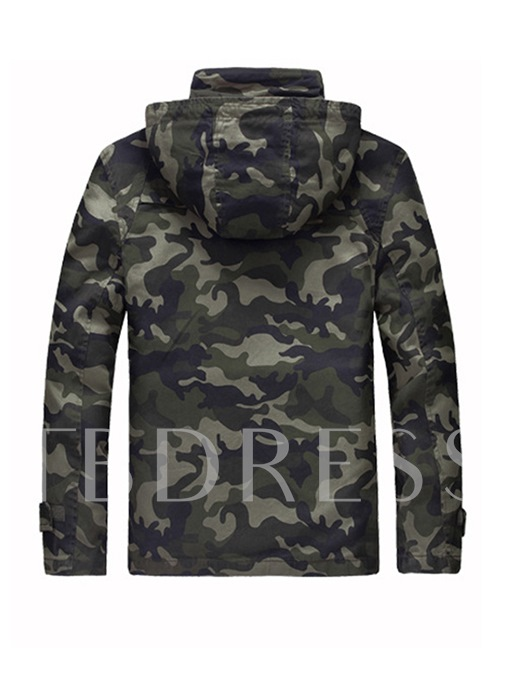 Hooded Cotton Camouflage Zipper Casual Men's Jacket