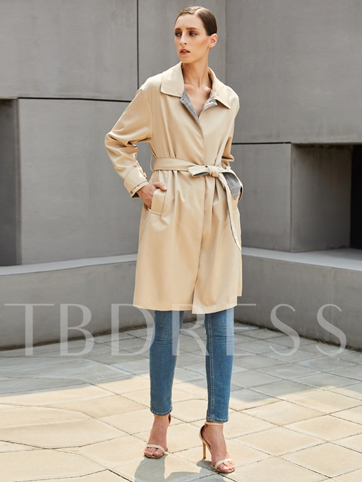 Lapel Long Loose with Belt Women's Trench Coat