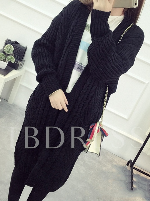 Long Knitted Loose Sweater with Pockets Women's Cardigan