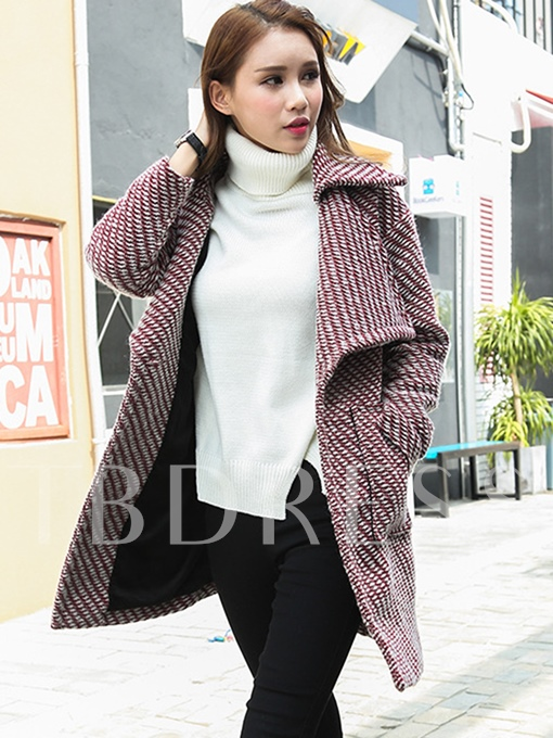 Mid-Length Wide Lapel Pocket Women's Winter Overcoat