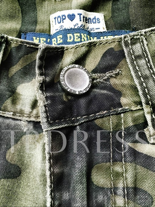 Camouflage Hole Ankle Length Women's Jeans