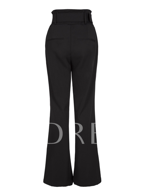 Black High-Waist Wide Legs Women's Pants