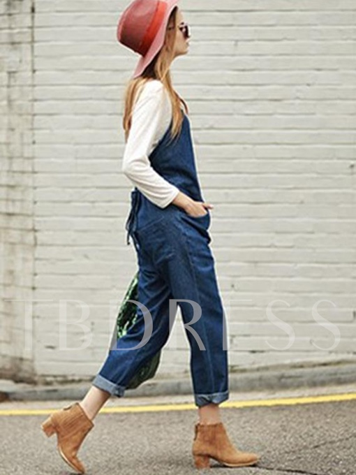 Plain Solid Color Straight Full Length Women's Overall