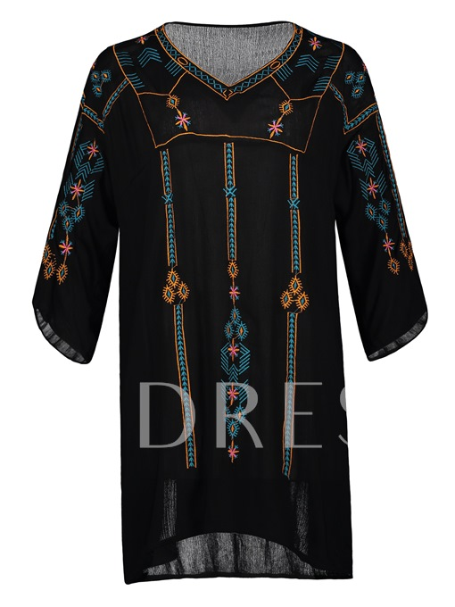 Embroidery Straight 3/4 Sleeve Women's Day Dress