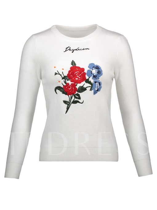 Letter Floral Embroideried Pullover Vacation Women's Sweater