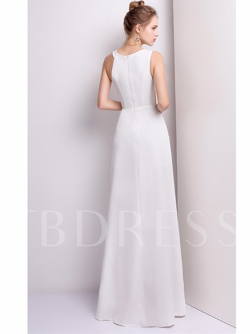 A-Line Scoop Appliques Split-Front Floor-Length Evening Dress