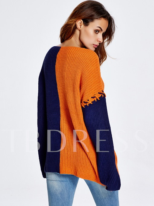 V-neck Color Block Patchwork Pullover Women's Sweater